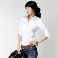 женщины / женские отложным - вниз воротник приталенный рубашки / хлопки длинный рукав блузка топы, рубашка бизнес, ф308