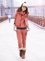 новый ограниченной регулярный полный мода женщин зимы спортивный костюм утолщение спортивная толстовка установить три один-шт балахон жилет