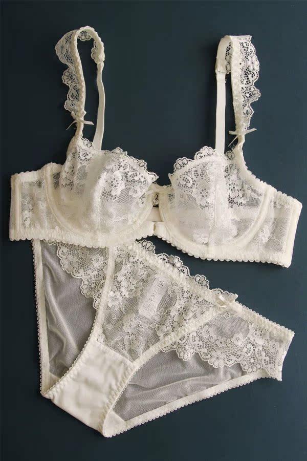 Sexy transparent women's ultra-thin lace bra set sexy briefs set underwear hot sexy bra and panties 1