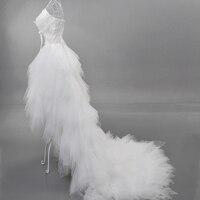 сексуальное глубокий с V-образный вырез принцесса невеста с коротким перед длинный хвост перья кружево свадебное платье