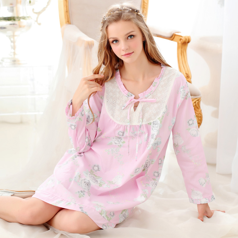 New Arrival Women S Nightgowns Long Sleeve 100% Woven Cotton Sweet ... fbbe5e40b
