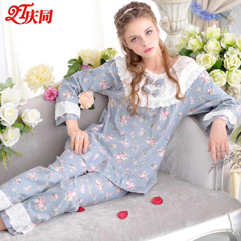726616469f Free Shipping Spring New Long-Sleeve Cotton Women  s Pajamas Sets Sleepwear  2 Piece Set Sweet Lace Princess Female Home ClothesUSD 36.99 set