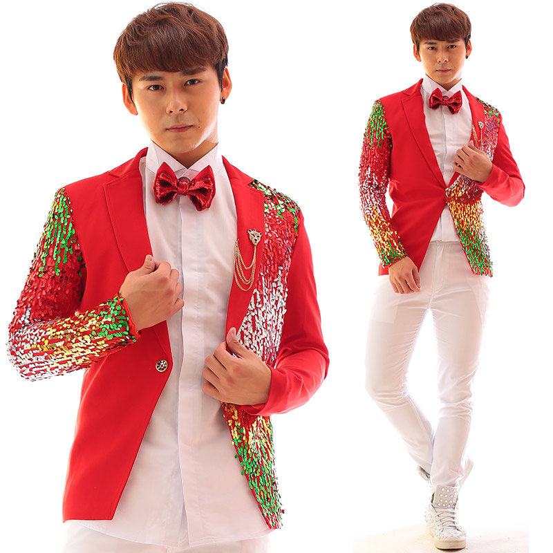 e3cda7b3d080c Red men suit designs masculino stage costumes for singers men color sequin  blazer dance clothes jacket style dress punk rock-in Suits from Men's ...