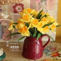 бесплатная доставка - Нарцисс обвинение цветы сухоцветы wade букет-шелк цветок