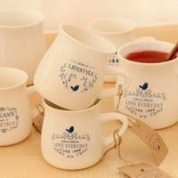 энн закки компактный фреш керамика завтрак чаша родитель - дети кофе молоко чаша синий и белый фарфор кружка