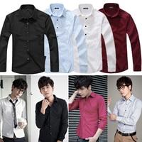 мужские рубашки сплошной цвет элегантный с длинным рукавом тонкий мода рубашка брэнд проверил рубашки для мужчин конструктор