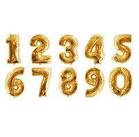 32 большой 0 - 9 золото алюминий воздушный шар на день рождения украшения стиль воздушный шар