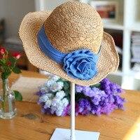 пляж соломенной шляпы синий цветок чепчике женщин солнца