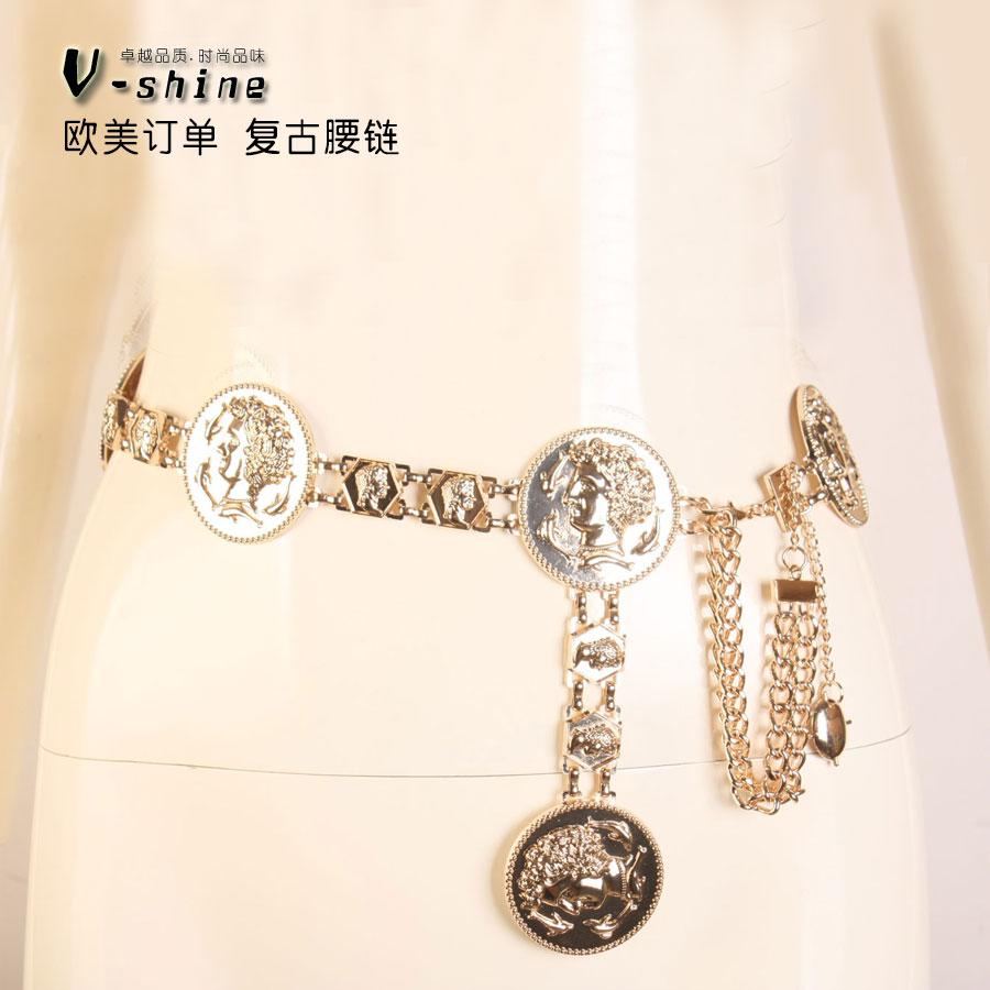 Luxury brand vintage Metal cinturón cc Exageración Tallada Borla ... 73366505284a