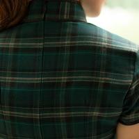 лето мода хлопок плед 100% женщин платье-чеонгсам винтаж