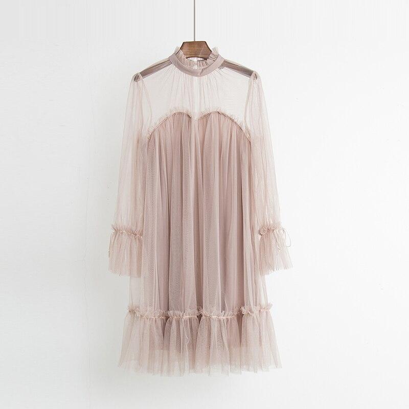 2017 Autumn new female elegant aesthetic loose gauze ruffle hem loose pleated one-piece dress women's doll dresses 2