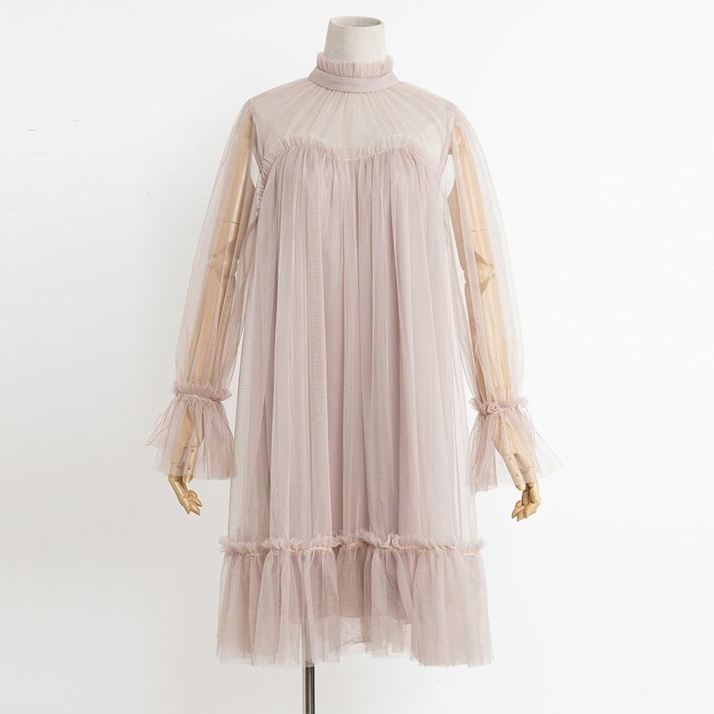2017 Autumn new female elegant aesthetic loose gauze ruffle hem loose pleated one-piece dress women's doll dresses 3
