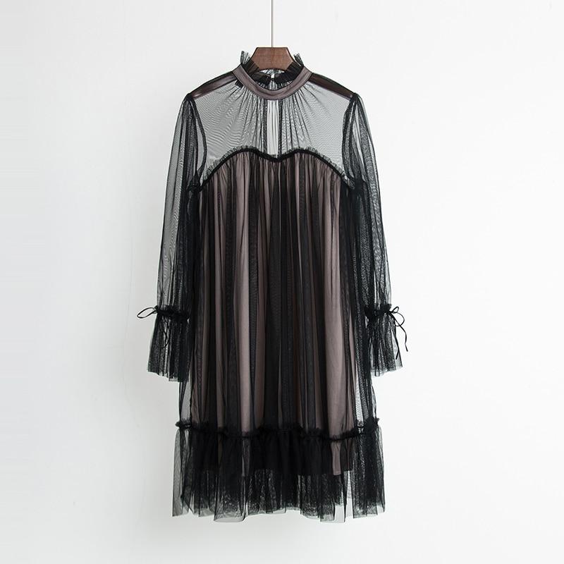 2017 Autumn new female elegant aesthetic loose gauze ruffle hem loose pleated one-piece dress women's doll dresses 4