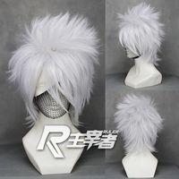 бесплатная доставка серебристо-серый короткие прямые аниме косплей костюм парик, синтетические волосы хатаке какаши. бесплатная доставка