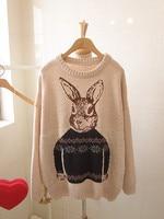 винтаж три - цвет кролик свитер широкий о-образным вырезом основным цветом шерстяной свитер