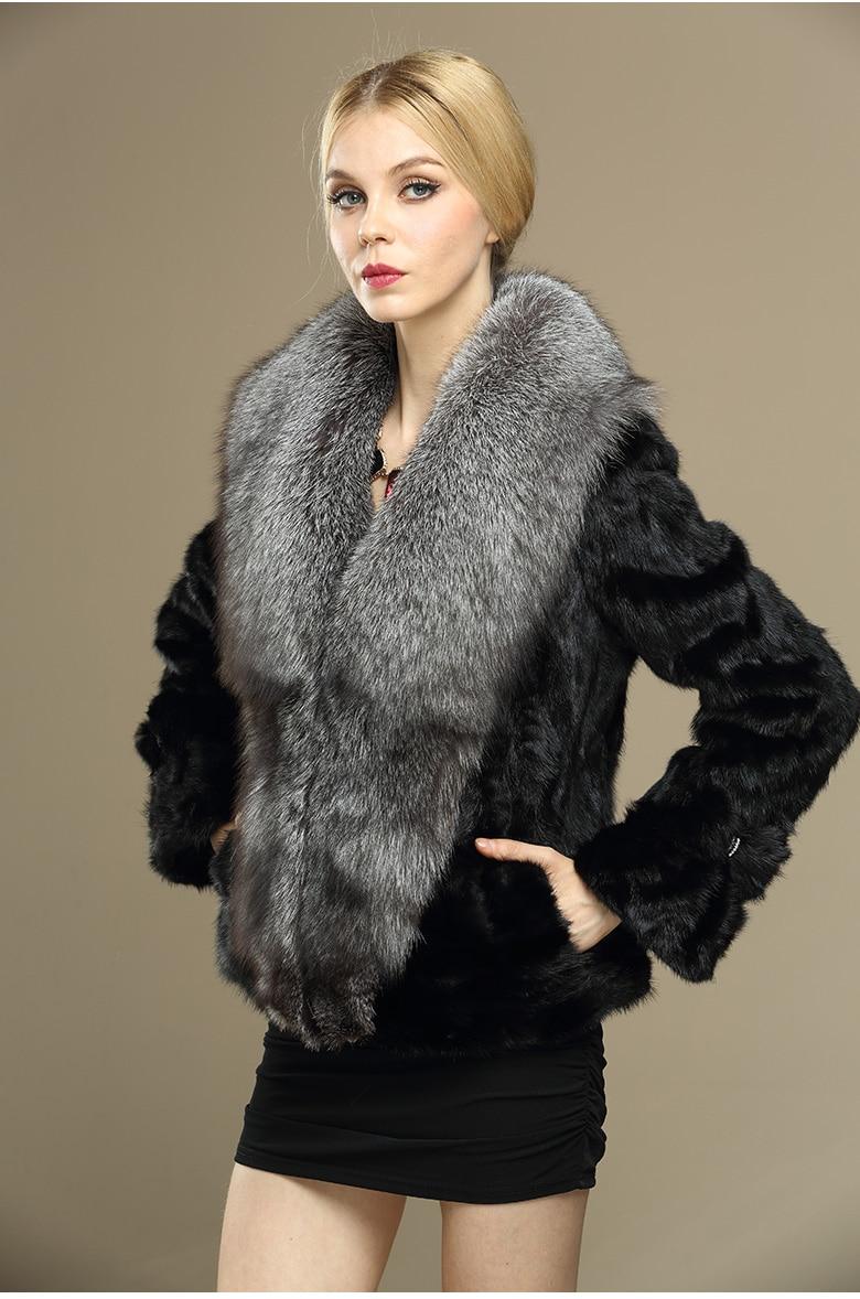 New genuine pelliccia di visone con grande collo di pelliccia di volpe  visone inverno gilet di pelliccia donne breve più il formato Libera Il  trasporto H648 . 93415fa63c73