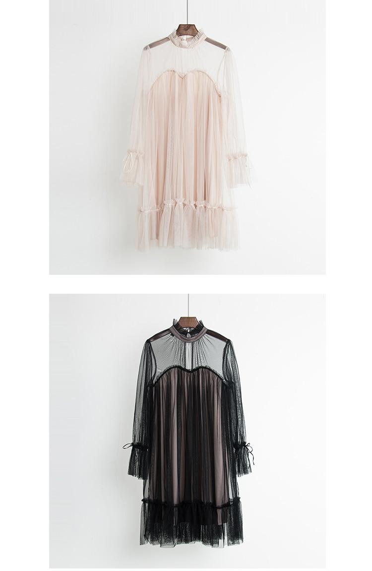 2017 Autumn new female elegant aesthetic loose gauze ruffle hem loose pleated one-piece dress women's doll dresses 7