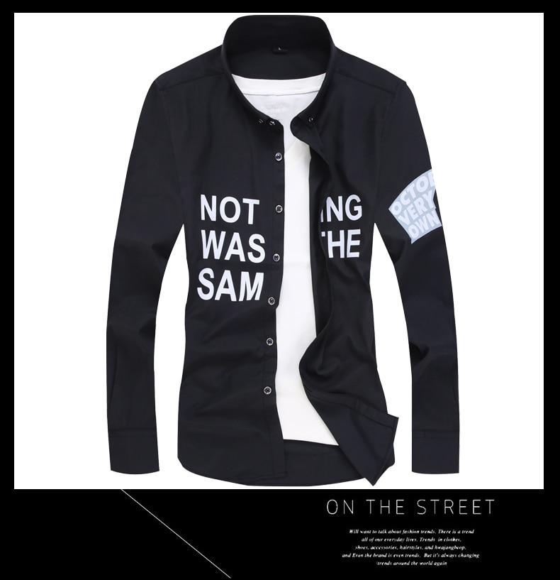 Men long-sleeve shirt Korean style 2019 spring and autumn teenage boy fashion shirt male slim print letter blue black white 10