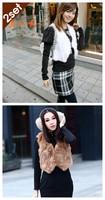 бесплатная доставка леди мода кролика шуба меховой жилет жилет