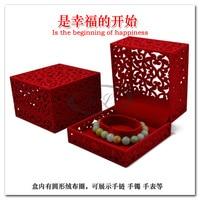 10,2 х 10,2 х 6.8 см 6 шт. / лот китайский традиция Pole красный ювелирные изделия браслет дисплей, выгравировано часы коробка