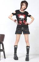 ГПП панк лолита черный цепи вертикальные полосы шорты 71123