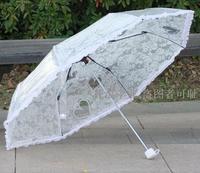 1 частей прозрачный зонтик кружево украшение роза и влюбленность принт три раза с поддержкой PoE зонтик