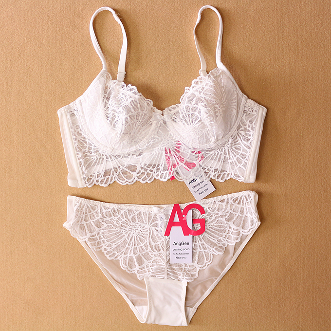 06031403a5a Fashion sexy deep V neck full transparent lace underwear set women's cutout ultra  thin bra plus size bra-in Bra & Brief Sets from Women's Clothing & ...