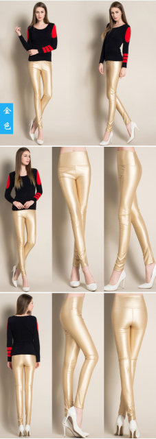 2017 Autumn Winter Women Elastic PU Leather Velvet High Waist Thick Warm leggings Slim Pencil Pants Colorful Trousers Female 17