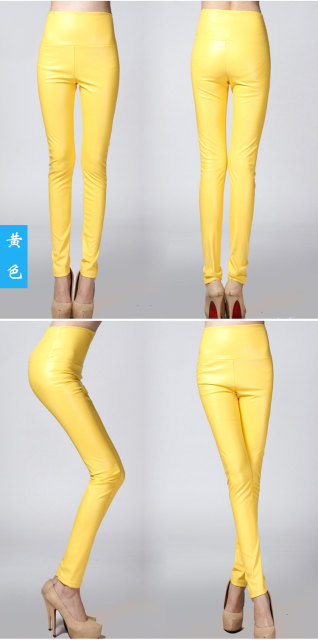 2017 Autumn Winter Women Elastic PU Leather Velvet High Waist Thick Warm leggings Slim Pencil Pants Colorful Trousers Female 22