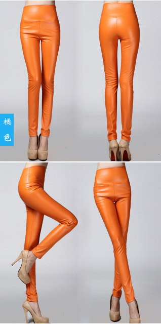 2017 Autumn Winter Women Elastic PU Leather Velvet High Waist Thick Warm leggings Slim Pencil Pants Colorful Trousers Female 26