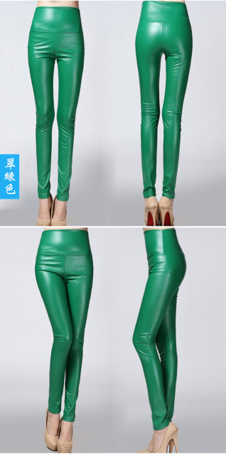2017 Autumn Winter Women Elastic PU Leather Velvet High Waist Thick Warm leggings Slim Pencil Pants Colorful Trousers Female 21