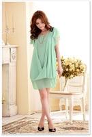 бесплатная доставка женщин элегантный небольшой свежий шифон цельный платье большой размер одежды