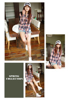 новый! мода женская рыбак клетчатую 100% хлопок с ди Recover тонкий рубашка опт стиль верхняя одежда бесплатная доставка gcs002