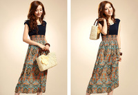 лето новый национальный ветер женщин шифоновое платье с высоким талия женщины одеваются в классический богемский платье для печать пляжное платье