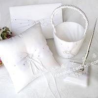 оптовая продажа - [ свадьба коллекция комплект ] связаны сердца из белого атласа свадьба коллекция комплект с горный хрусталь