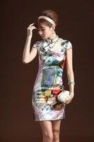 старинные цветок синий и белый для китайский стиль национального тенденция шелк атлас кремнезема частей платье из шелка чонсам