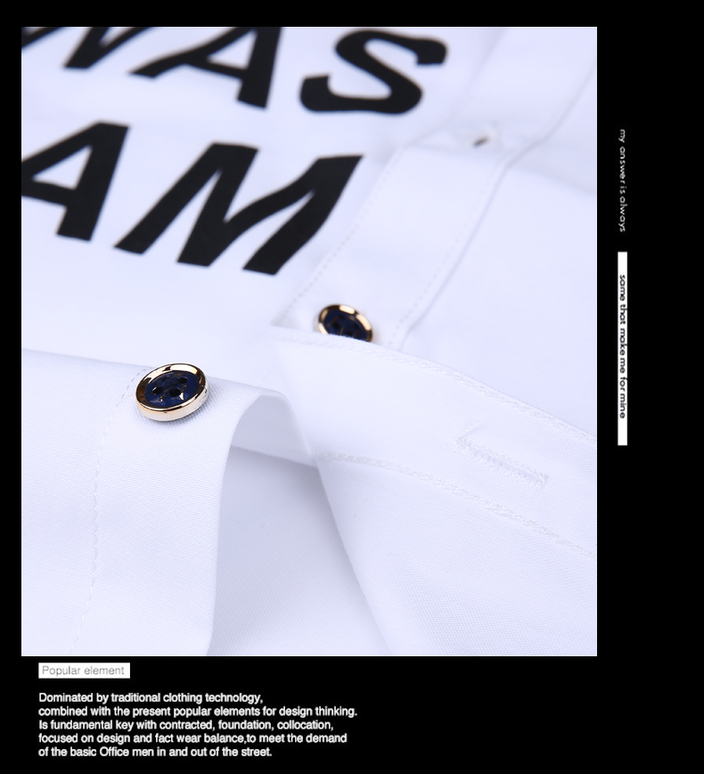 Men long-sleeve shirt Korean style 2019 spring and autumn teenage boy fashion shirt male slim print letter blue black white 15
