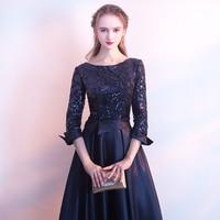 ssyfashion новое платье для матери невесты банкетный элегантный золотой и темно-синий 3/4 рукава атласные вечерние блестки длинное вечернее платье
