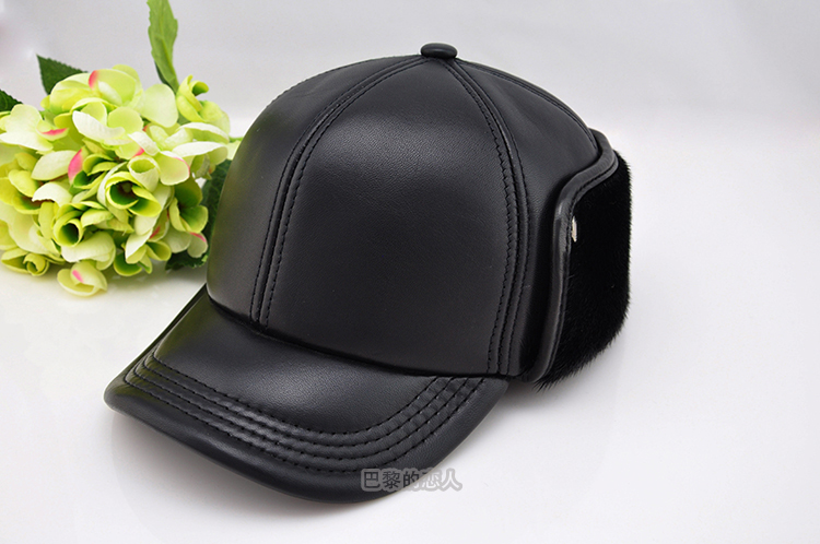 b3ffbc51d4b Seal cap sheepskin baseball cap quinquagenarian genuine leather hat ...