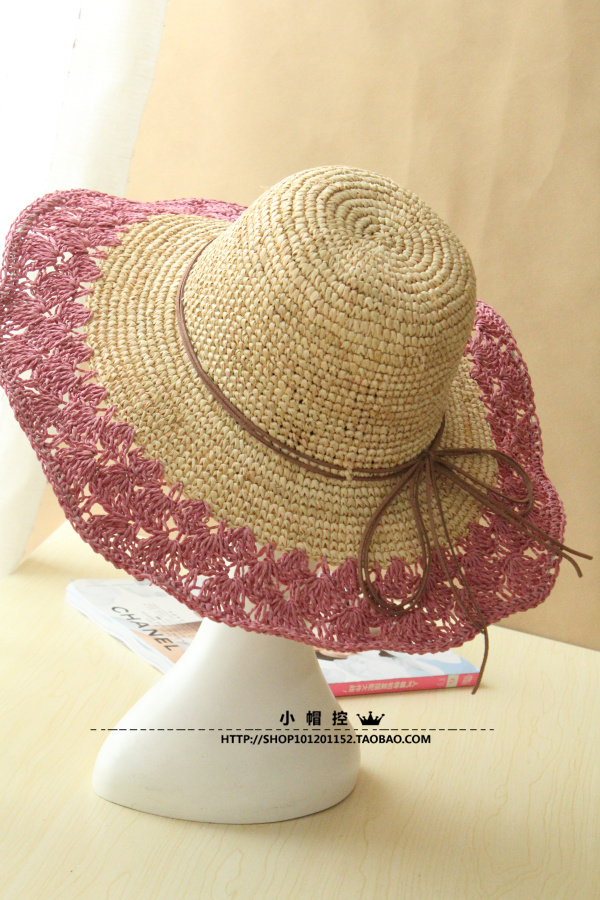 c218919a0a841 Summer Large Brim Women Crochet Sun Hat Straw Cutout Folding Floppy ...