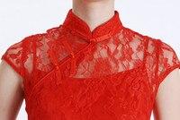 мода новейших вечернее платье вышла замуж за платье-чеонгсам лето красный кружево женское тонкий большой размер с платье с рукавом Корк Корк
