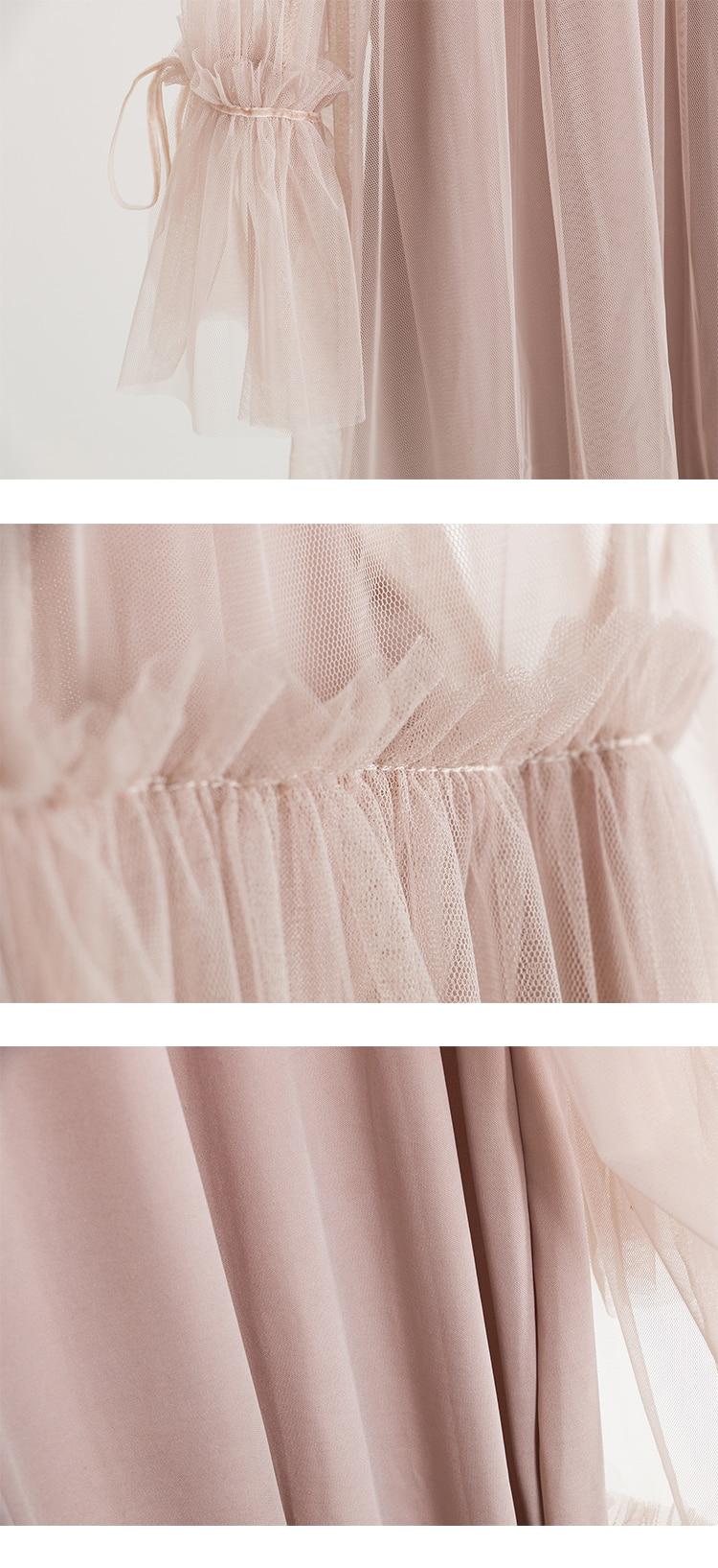 2017 Autumn new female elegant aesthetic loose gauze ruffle hem loose pleated one-piece dress women's doll dresses 9