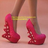 нормик вырез с высокая туфли на высоком каблуке обувь принцесса женщины в 14 см платформа клинья один обувь белый свадьба обувь