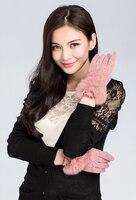 осень и зима шерсть перчатки женщины милый тёплый кружево палец перчатки кроличий мех до запястья бант рот сенсорный экран перчатки