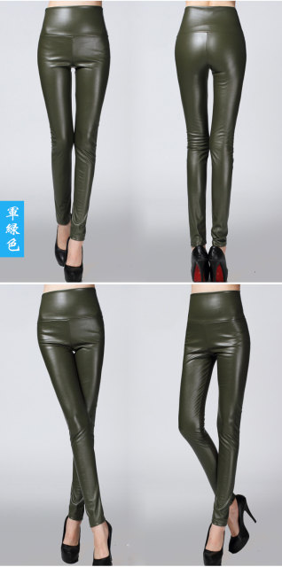 2017 Autumn Winter Women Elastic PU Leather Velvet High Waist Thick Warm leggings Slim Pencil Pants Colorful Trousers Female 20