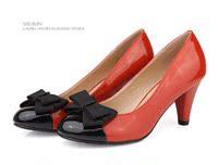бесплатная доставка женские женская обувь лакированная кожа с летучая мышь цвет блок украшения туфли на высоком парень formal пр одного туфли