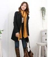 осень и зима женская средней длины - тонкий стенд воротник двубортный шерстяное пальто плащ верхняя одежда / черный / серый / 6 размер