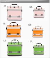 коробка для косметики макияж чехол инструмент ёмкость много - слой ювелирные изделия раскладной зеркало чехол зеленый оранжевый розовый