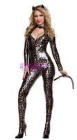 хэллоуин кошка женщин леопардовым принтом резинка лакированная кожа цельный костюм