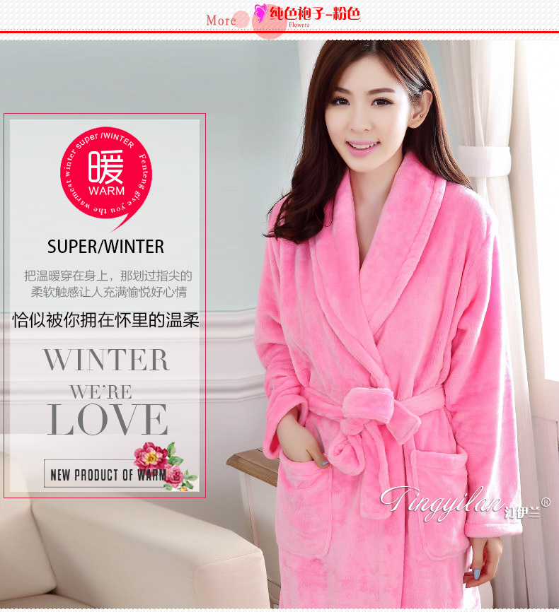 Cotton Bath Robe Female Male Flannel Bathrobes Pajamas Night Gown Robe  Femme Long Sleeve Home Bathrobe Dressing Gowns For Women-in Robes from  Women s ... c3c7142df
